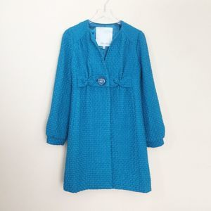 Beth Bowley Teal Blue Wool Blend Pea Coat Size 6